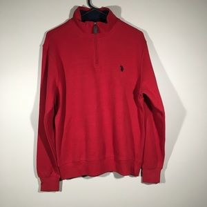 Men's US Polo Association red shirt.